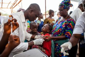 First day of Measles vaccination programme in Conakry, the capital of Guinea.